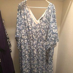 Lane Bryant 22/24 blue floral floor length dress